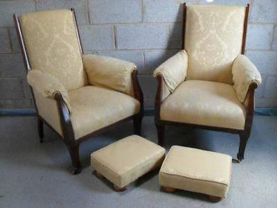 Lovely pair of Edwardian show wood Mahogany Arts & Crafts upholstered armchairs