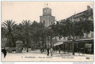 Cpa 83 - Ollioules - Place Des Palmiers Animee - Le Clocher