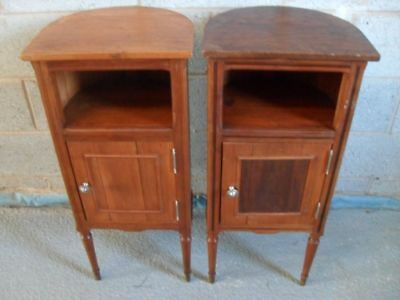 Pair of French Pine bow backed bedside pot cupboards