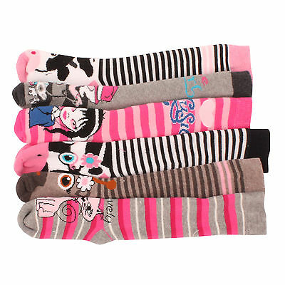 3 x Girls Kids Children Wellington Welly Animal Print Thermal Warm Long Socks