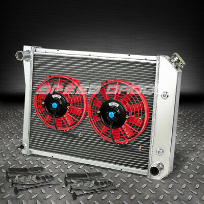 "3Row Aluminum Racing Radiator+9""red Fan 71-87 Chevy/olds/pontiac Small Block Sbc"