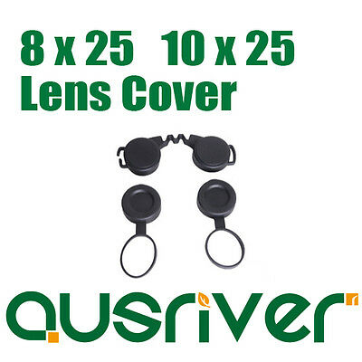 New Black Binoculars Accessories Eyepiece Objective Lens Cover For 8x25 10x25