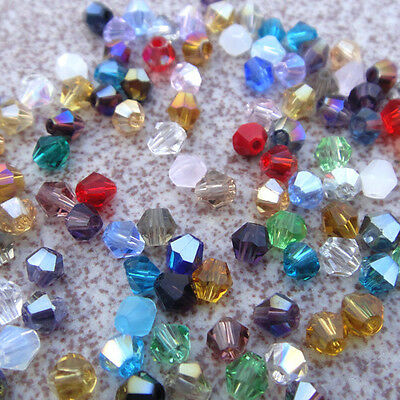 free shipping 200pcs 4mm Bicone Flicker glass crystal spacer bead color optional