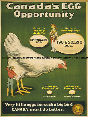 1915 Canada Little Hen W/ Eggs War Poster