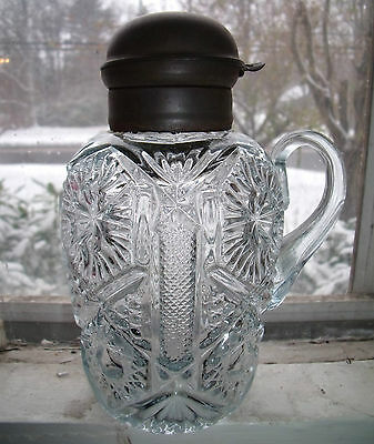 rare antique aquamarine pressed glass syrup jug