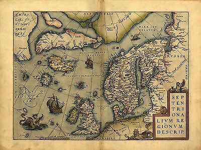 Ortelius Europe Scandinavia Denmark Sweden Iceland Greenland New Repro Old Map