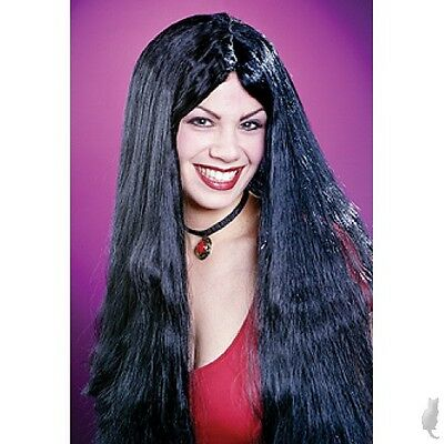 Adult Black Long and Lovely Straight Black Wig Halloween Costume Accessory