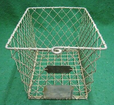 Vintage Gym Locker Wire Pool Basket Unique 13x7.5x7  #1136-12