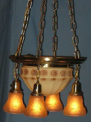 Antique Electric Brass Ceiling 5-Light Fixture Custard Floralcenter Puffy Shade