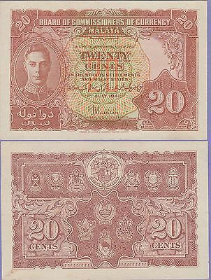 Malaya 20 Cents Banknote 1.7.1941 About Uncirculated Condition Cat#9-A