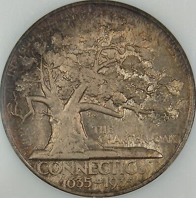 1935 Connecticut Commemorative Silver Half Dollar, NGC MS-66, Toned