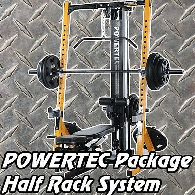 POWERTEC Half Rack WB-HR16 + Lat Option + IRONMASTER Super Bench Weights Barbell