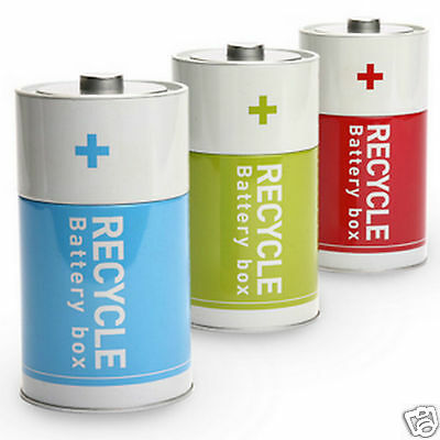 Battery Shaped Tin Box Recycled Batteries Storage Container Case Monkey Business