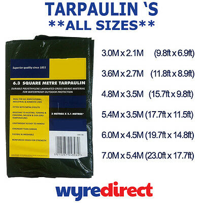Tarpaulin Heavy Duty Industrial Ground Sheet Waterproof Cover Various Sizes