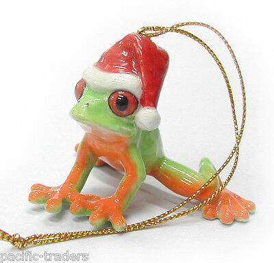 R259 - Northern Rose Christmas Ornament - Frog with Santa Hat