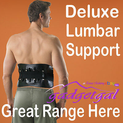 Deluxe Lumbar Back Waist Support Brace with Removable Self Heating Magnetic Pad