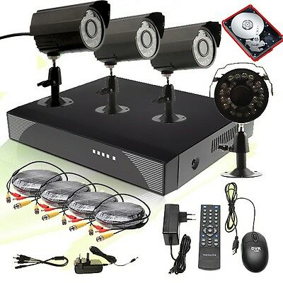Home CCTV Outdoor Night Waterproof Security Camera 4 Channel DVR System+500G HDD