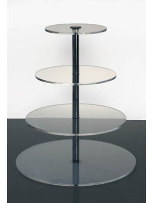 4 Tier Cake Stand MonoChrome Clear Round Acrylic Party Cupcake 5mm Acrylic