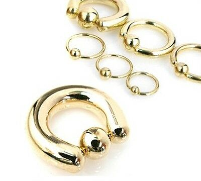 New Quality Gold Plated Captive Bead Ring Hoop Various Sizes BCR