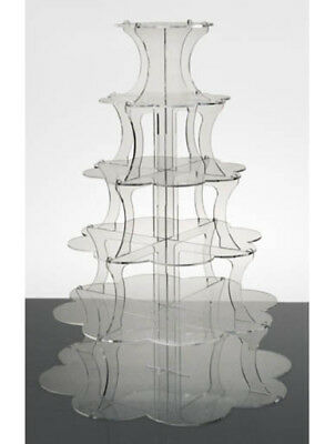Petal Shaped Cupcake Stand 6 Tier Clear Acrylic Tower