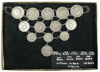 German Coin Chain Linked Breastplate Jewelry- 13 Silver Coins- 2,3,5 Mark- W/box