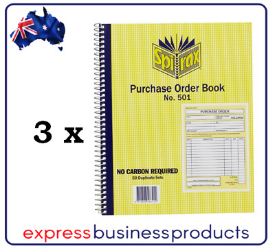 3 Pack Spirax #501 Purchase Order Book Carbonless – EA56501