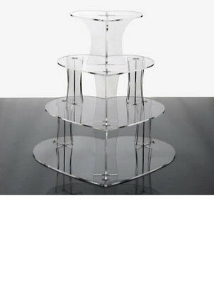 Heart Shaped 4 Tier Clear Acrylic Party Cup Cake Stand Display