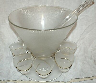 Mid Century Modern Atomic Glass Punch Bowl Set & 8 Cups Norse Pattern Eames Era