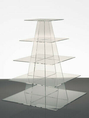 Square Cake StandStencil Range 5 Tier Clear Acrylic Wedding Party