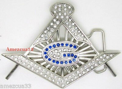 Master Mason   stones cut out with stones belt buckle.