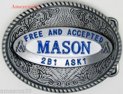 Free and Accepted Mason oval belt buckle