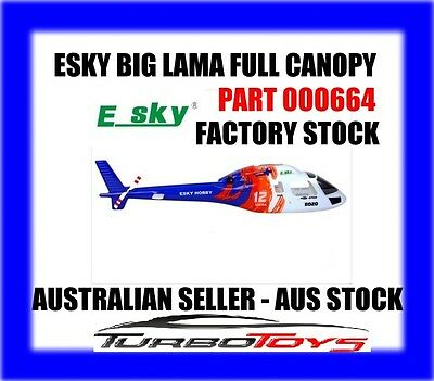 Esky 4Ch Big Lama Helicopter Full Canopy Part 000664-Factory Stock-Aus Seller