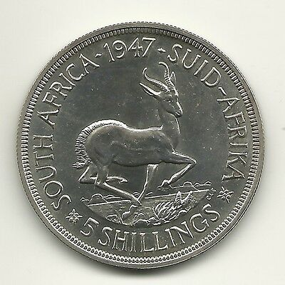 South Africa 1947 Proof 5 Shillings King George Vi Silver Coin