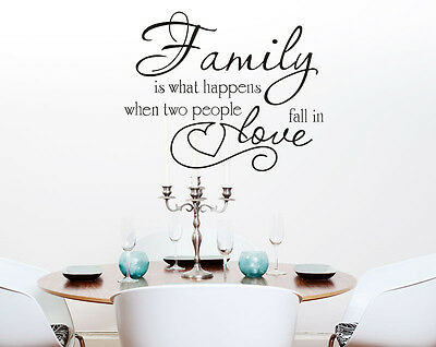 'Family is when two people fall in Love' Vinyl Removable Wall Stickers Decal