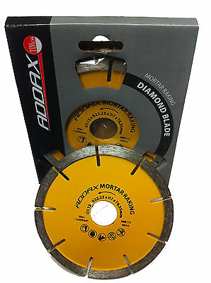 "2 x 115mm 4.5"" ANGLE GRINDER MORTAR POINTING RAKE DISC DIAMOND BLADE 22.2mm BORE"