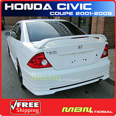 01-05 Honda Civic 2DR Coupe Rear Tail Trunk Wing Spoiler Primer Unpainted ABS