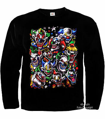 * Clown Zirkus Joker Varietè Kostüm Laughing Clowns Skull T-Shirt *4050 LS