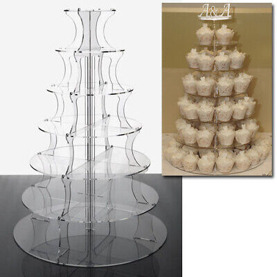 Cupcake Stand 7 TIER CLEAR Acrylic Party Cupcake Display Tower for Weddings