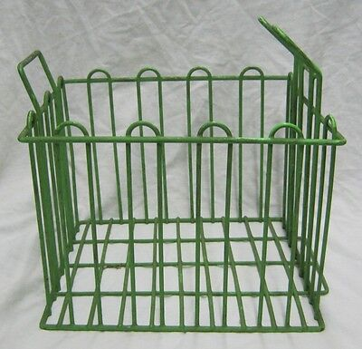 Vintage Wire Basket Steampunk Green Storage #1197-12