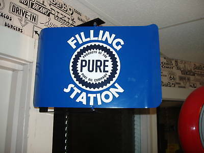 Pure Oil   50S Era Spinning Wall Mount Advertising Sign