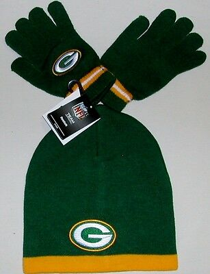 Green Bay Packers Nfl Team Apparel Winter Hat Set Boys Youth  8-20 Beanie Gloves