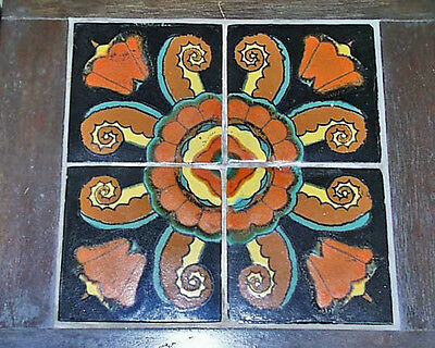Fine Antique 1930s California Art Pottery Tile Table 18 X 18 X 18 Inches