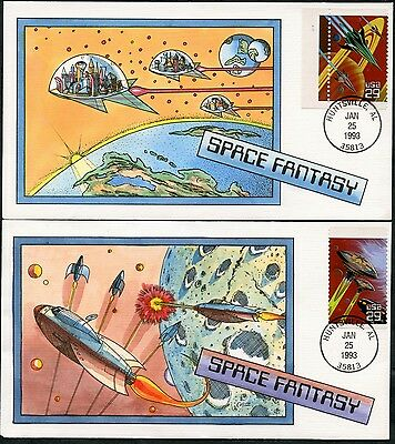 """#2741-45 """"space Fantasy"""" (5) Diff Collins Fdc Cachet Hand Painted Bp7334"""