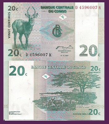 Congo P83a, 20 Centimes, antelope buck / Upemba National Park - see UV image UNC