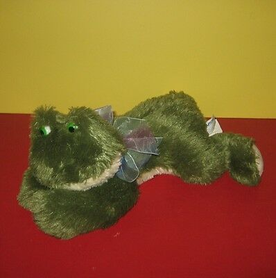 "12"" Laydown Floppy Big Paws Green Pond Frog Bean Plush Pal w/ Rainbow Bow"
