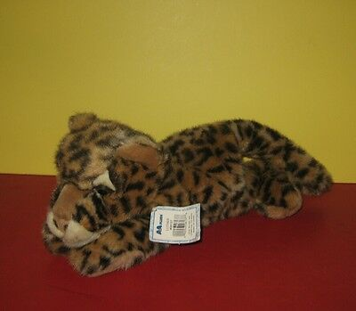 "Cute 12"" Aurora A&A Flopsies Bean Plush Baby Leopard Animal Named Luther"