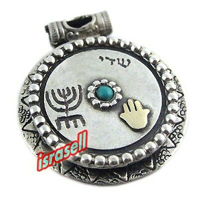 Antique Style Pendant with Gold Hamsa and Menorah - Shaddai Hebrew Name of God