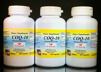 CoQ-10 400mg ~ 300 (3x100) capsules, co-enzyme, antiaging, cardio. Made in USA.