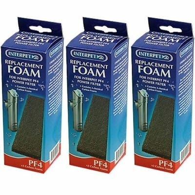 3 Packs Of Interpet Pf4 Replacement Carbon Foams X 3 For Internal Power Filter