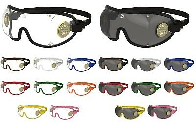 Kroops Brass Vented Skydiving Goggles | Clear/Tinted Lens | FREE UK Delivery